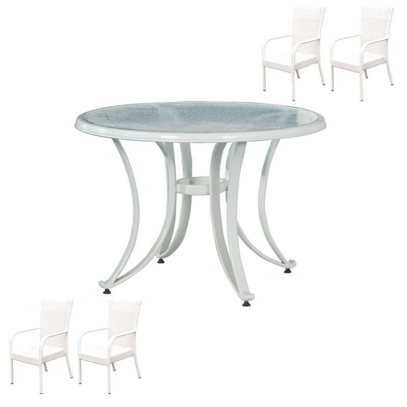 Inko 5-teilige Sitzgruppe Dodo Aluminium/Geflecht weiß/Glas Tisch Ø 105 cm Polyrattan