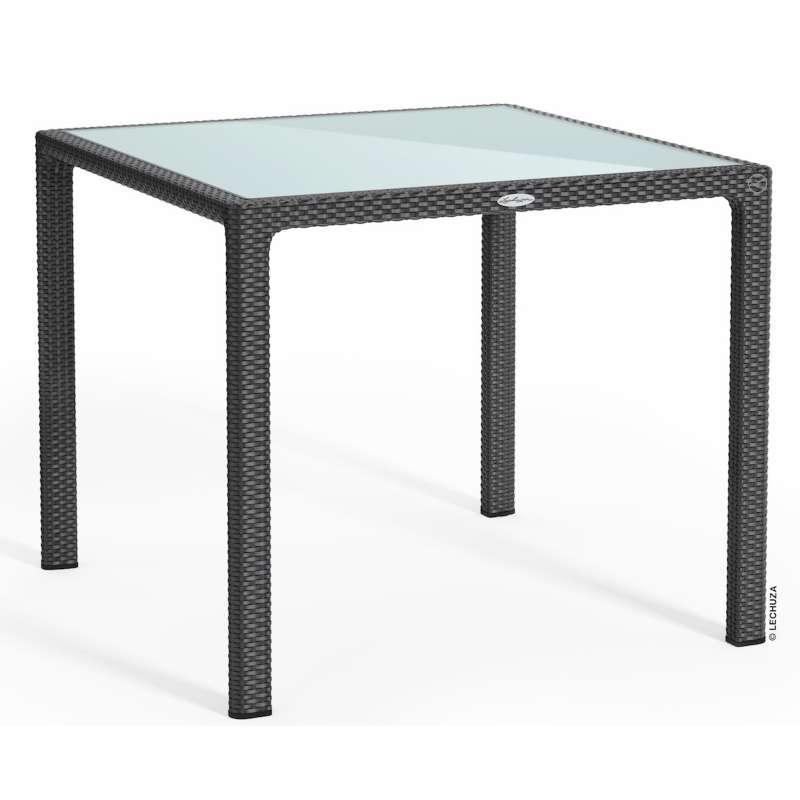 Lechuza Gartentisch Flechtstruktur 90x90 cm HPL/Glas weiß/granit/mokka Esstisch Landhausstil