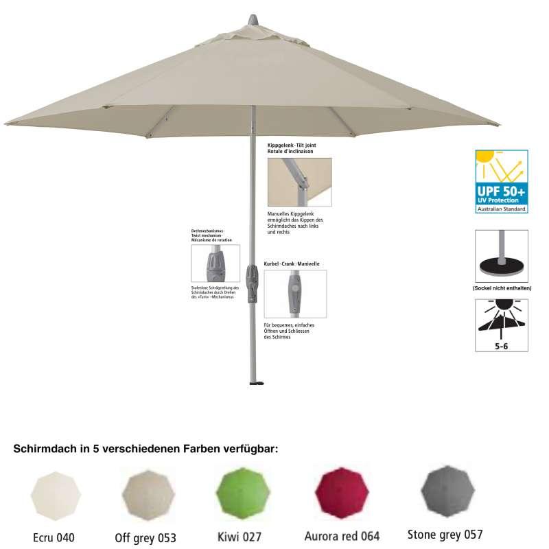 GLATZ Sonnenschirm SUNCOMFORT® Shell Turn rund ø 300 cm in 5 Farbvarianten Mittelmast
