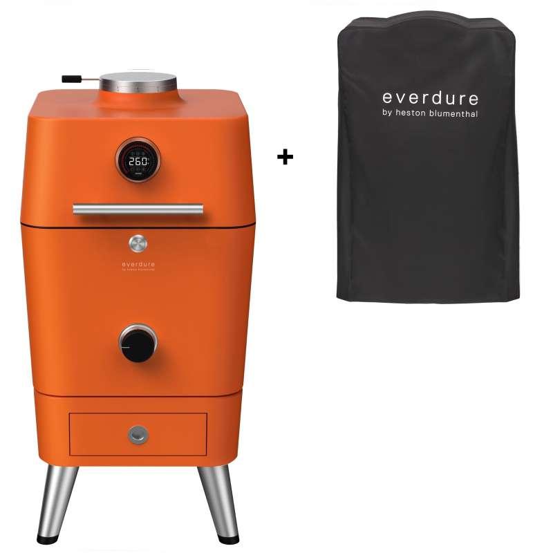 Everdure 4K Kamado Kohle- und elektrischer Outdoor Ofen Orange inkl. Premium Abdeckhaube