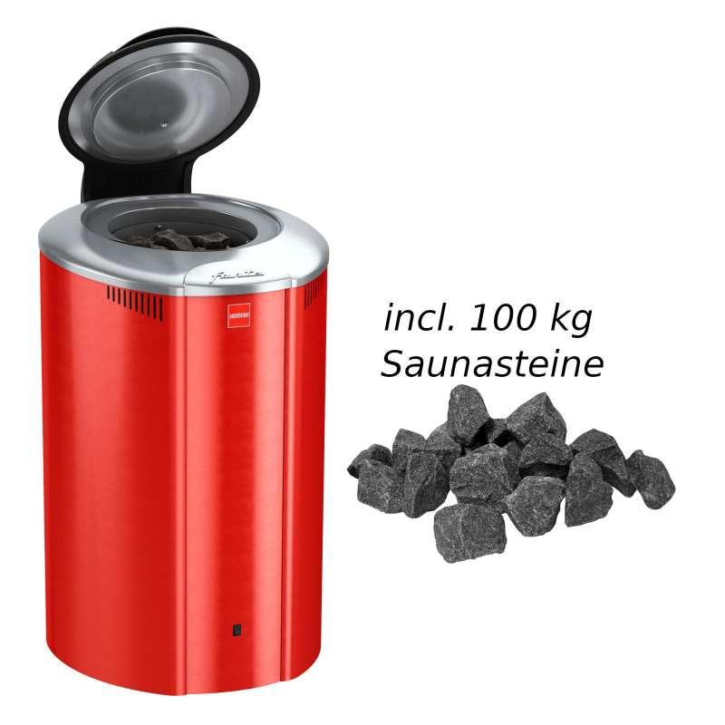 Harvia Saunaofen Forte 9,0 kW Elektroofen AF9 Saunaheizung Saunaheizgerät, Farbe Rot