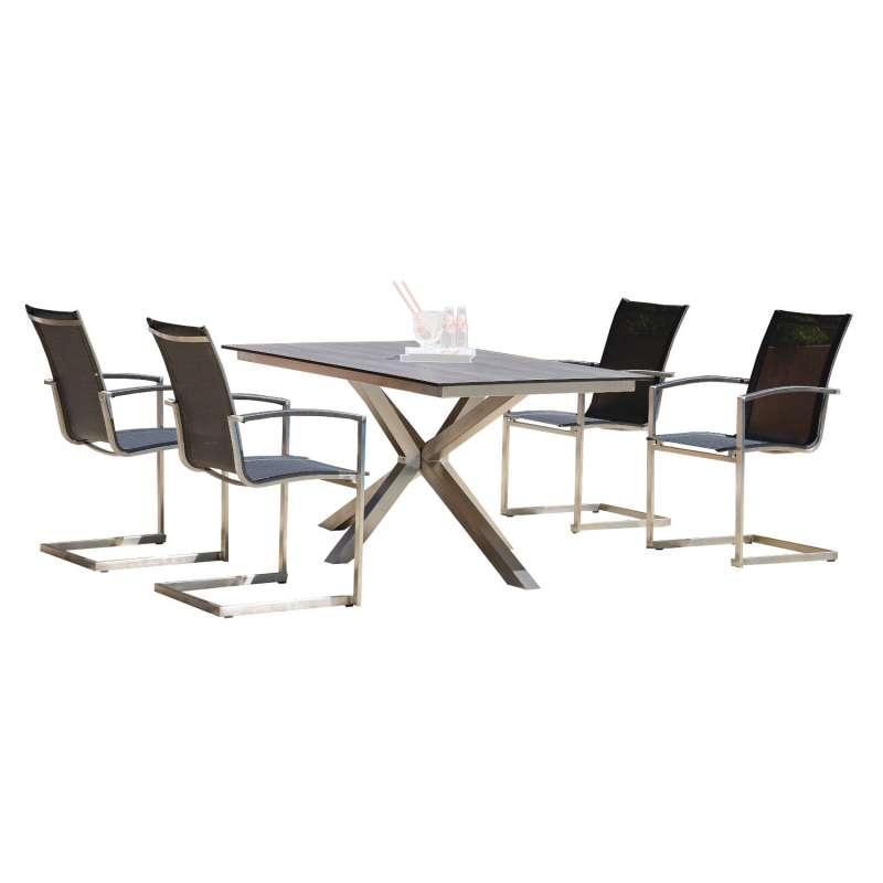 Sonnenpartner 5-teilige Sitzgruppe Millenium & Base-Spectra diagonal 160x90 cm Edelstahl mit Textile