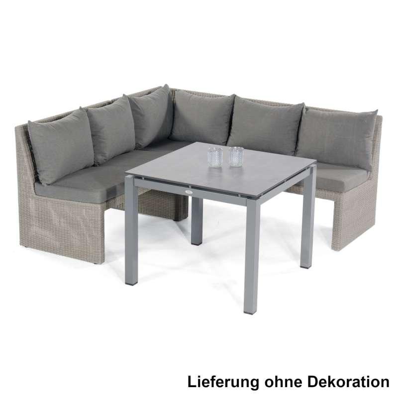 Sonnenpartner 4-teilige Dining-Lounge-Sitzgruppe Savannah & Base 90x90 cm Aluminium mit Polyrattan s