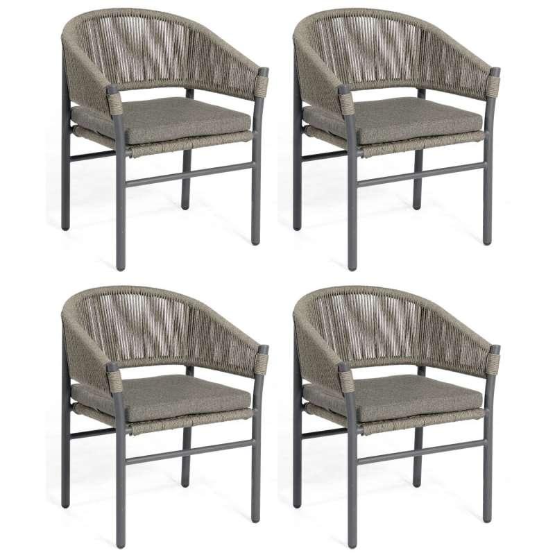 Sonnenpartner 4er-Set Gartensessel Mystique Aluminium mit Polyrope dunkelgrau Gartenstuhl Sessel