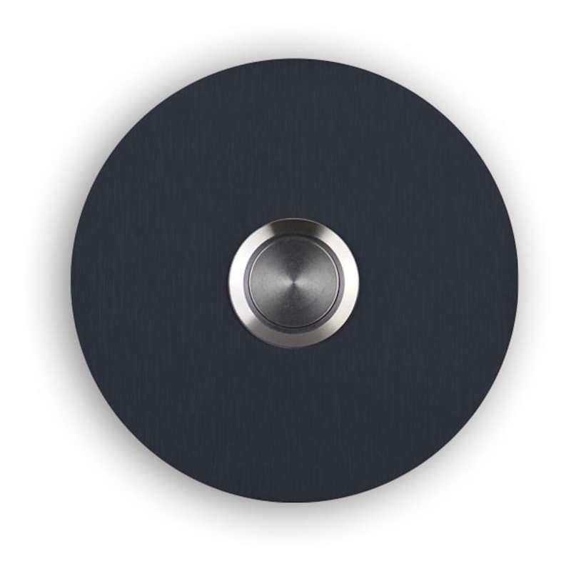 Heibi Klingelknopf SONITO Edelstahl pulverbeschichtet grau RAL 7016 rund 7,4 cm Türklingel