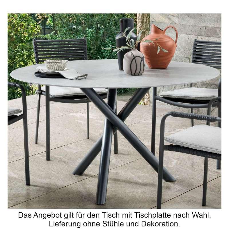 SIT Mobilia Gartentisch Tubo Edelstahl eisengrau/wählbare Tischplatte rund Ø 120 cm Tisch Terrassent
