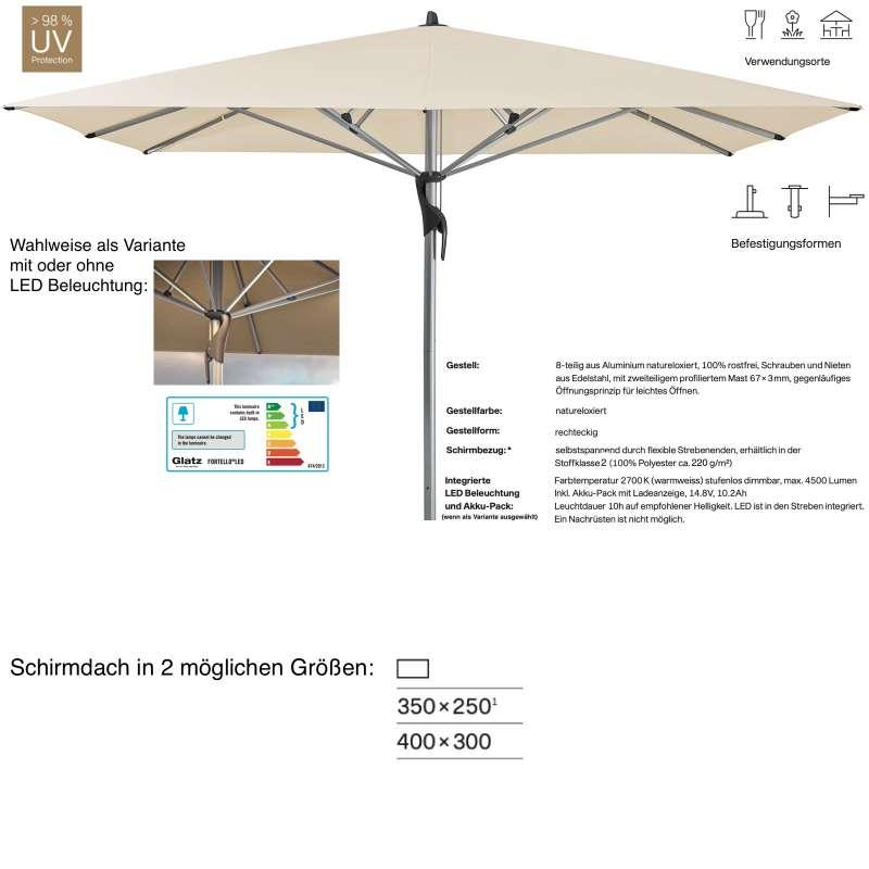 GLATZ Sonnenschirm FORTELLO® / LED easy rechteckig 350 x 250 / 400 x 300 cm Eggshell 150