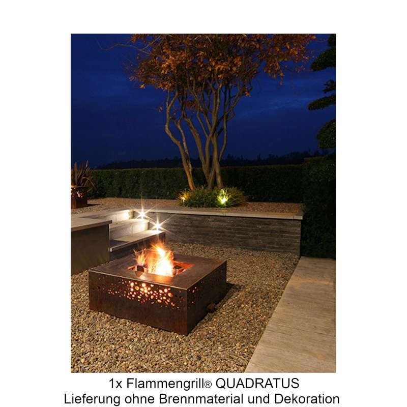 Mecondo Flammengrill® QUADRATUS 70x70x35 cm Edelstahl-Grillfäche Corten/Edelstahl Feuertisch