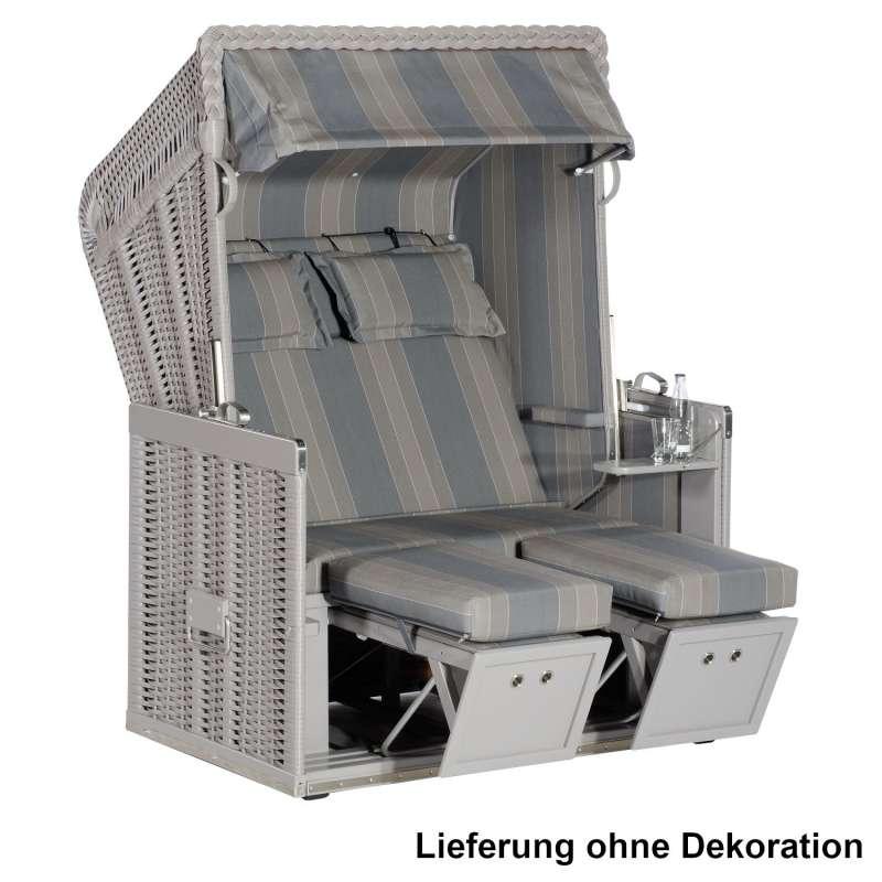 Sonnenpartner Strandkorb Konsul 2-Sitzer Halbliegemodell taupe/grau mit Sonderausstattung
