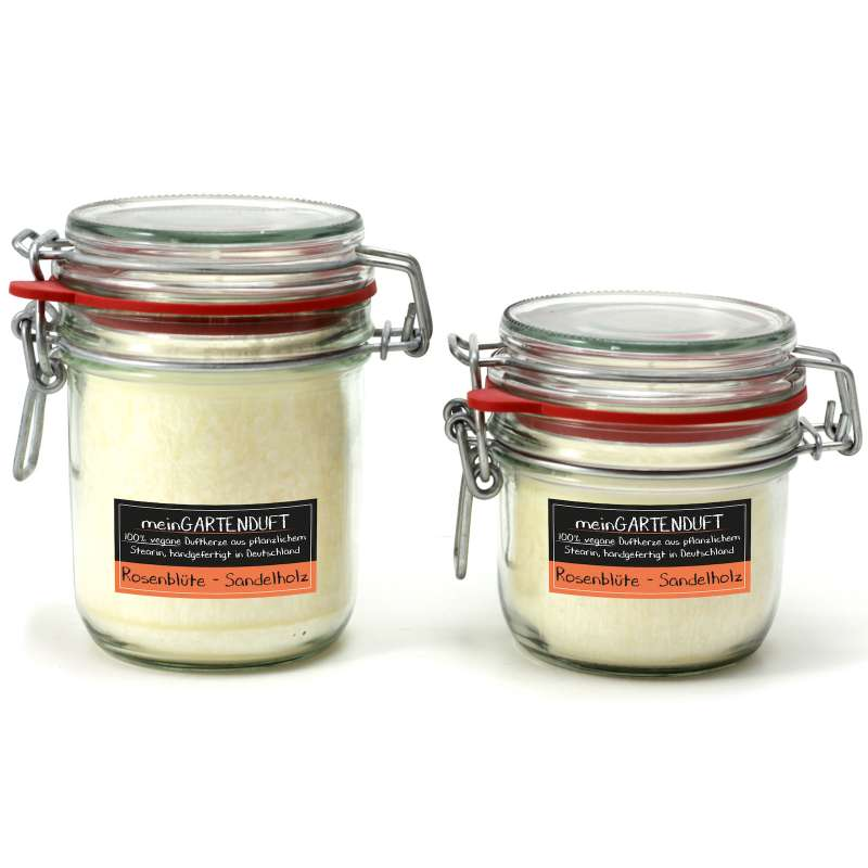 "Candle Factory ""mein Gartenduft"" Kerzenset Rosenblüte-Sandelholz Drahtbügelglas"