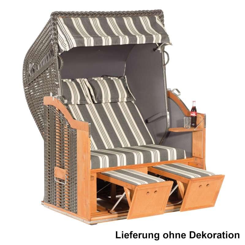 Sonnenpartner Strandkorb Classic 2-Sitzer Halbliegemodell nizza/anthrazit mit Sonderausstattung