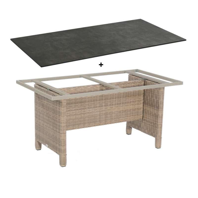 Sonnenpartner Gartentisch Base 160x90 cm Aluminium mit Polyrattan rustic-stream Tischsystem mit wähl