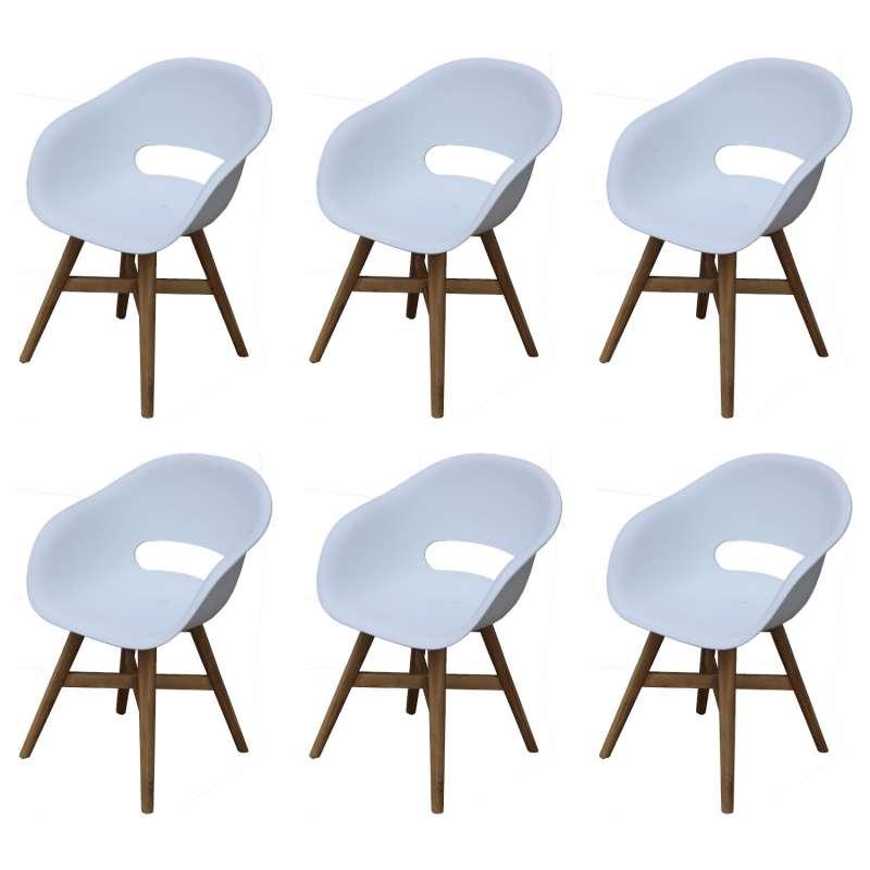 Inko 6er-Set Gartensessel Doro Akazie/Kunststoff weiß 61x53x86 cm Gartenstuhl Sessel