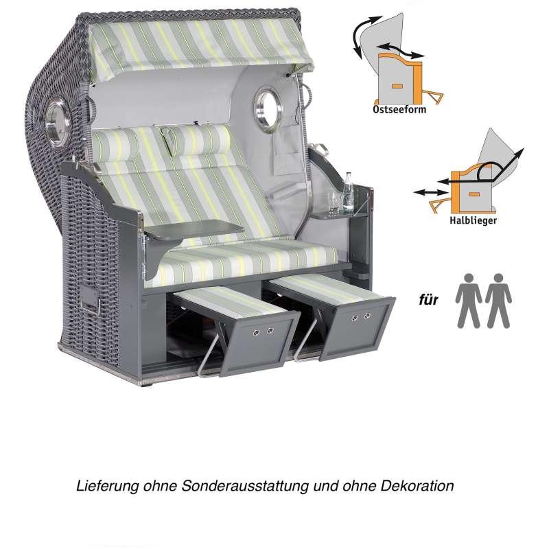 Sonnenpartner Strandkorb Classic 2-Sitzer XL Halbliegemodell grau mit 2 Bullaugen und LED-Beleuchtun
