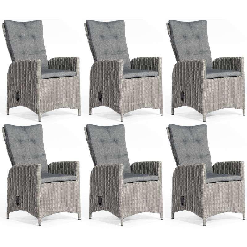 SunnySmart 6er Set Dining-Sessel Para-Plus Aluminium mit Kunststoffgeflecht rustic-vintage Gartenstu