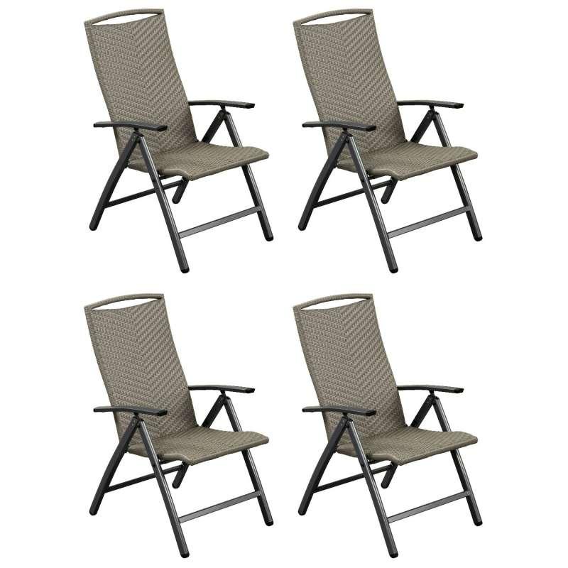 Inko 4er-Set Klappsessel York Aluminium graphit/Geflecht grau 5-fach verstellbar Hochlehner 74x61x10