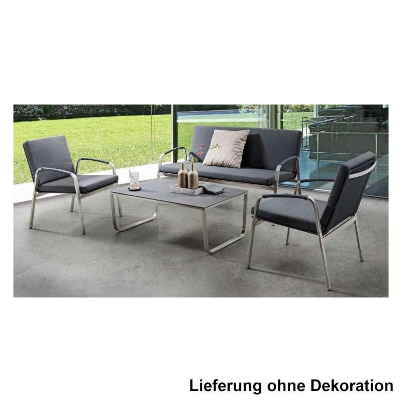 SIT Mobilia 4-teilige Lounge-Sitzgruppe Santa Fe Edelstahl/Textilen schwarz Sofa/2 Sessel/Beistellti