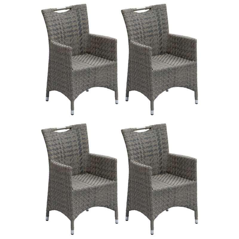 Inko 4er-Set Sessel Kent Aluminium/Geflecht grau Gartenstuhl 59x57x89 cm Polyrattan