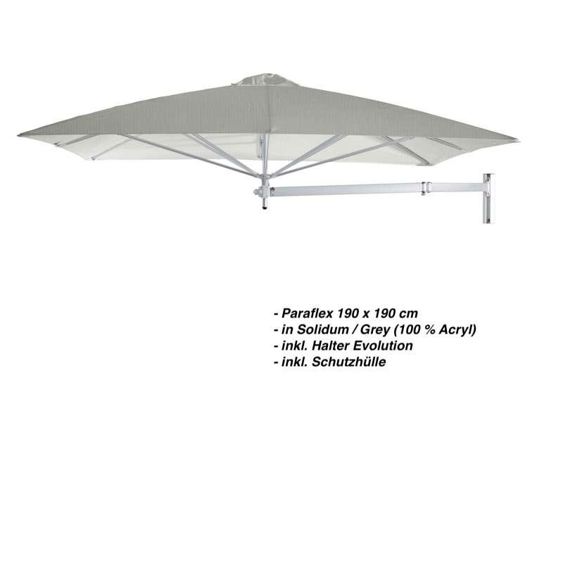 Umbrosa Paraflex 190 x 190 cm Sonnenschirm Solidum Grey SET Wandschirm inkl. Halterung