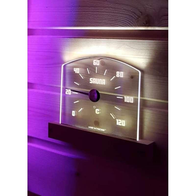 Nikkarien Saunia LED Sauna Thermometer bis 120 °C 29x18,5x2 cm Polycarbonat 46300