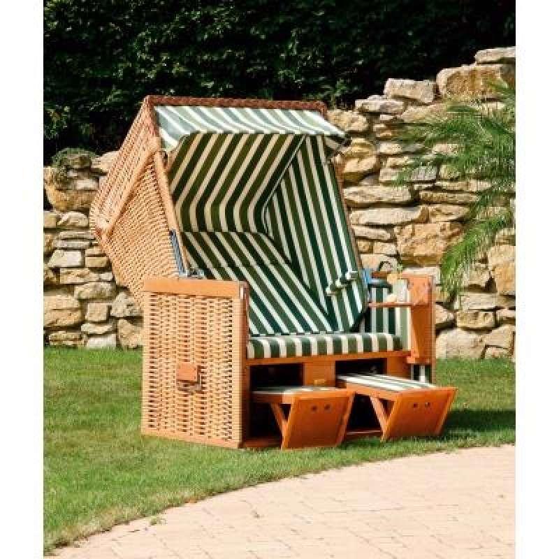 Sonnenpartner Strandkorb Konsul 2 Sitzer Halbliegemodell natur grün