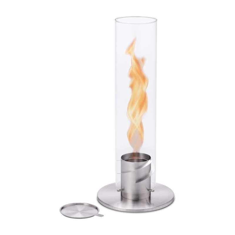 höfats Tischfeuer SPIN 120 silber Edelstahl/Glas Ø 23/12 cm Windlicht Gartenfackel