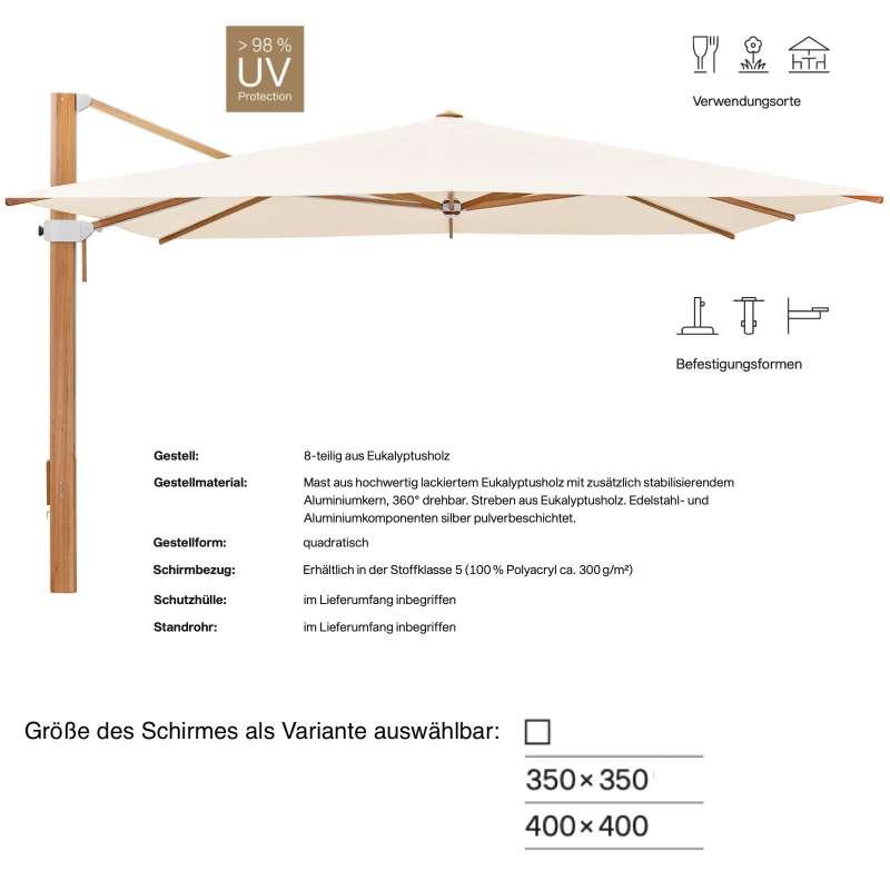 GLATZ Sonnenschirm AURA 350 x 350 / 400 x 400 cm Holzschirm Stoffklasse 5 Champagne 523