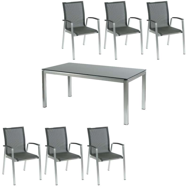 Inko 7-teilige Sitzgruppe Ancona 180x90 cm Aluminium gebürstet/HPL zebranowood/Textilene