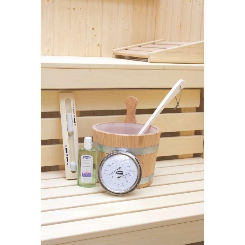 Arend Sauna Zubehör-Set Komfort 5-teilig mit Thermo-Hygrometer Sanduhr Kübel Kelle Aufgusskonzentrat