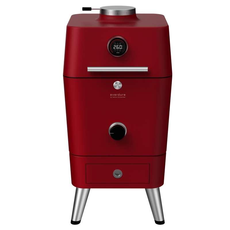 Everdure 4K Kamado Kohle- und elektrischer Outdoor Ofen mit elektrischem Anzünder Rot HBCE4KREU
