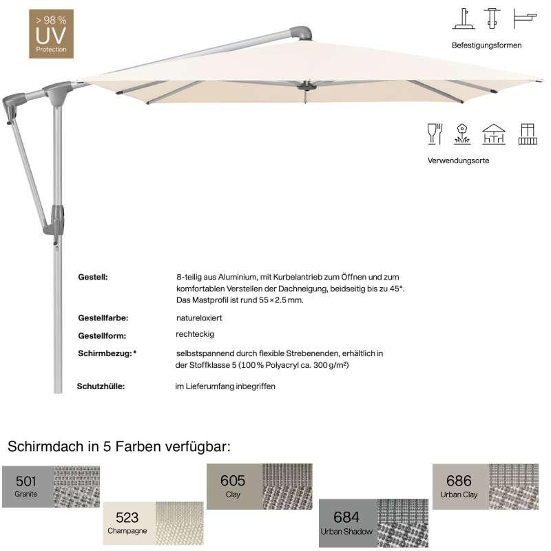 GLATZ Sonnenschirm SUNWING® CASA rechteckig 300 x 240 cm 5 Farben Stoffklasse 5 Ampelschirm