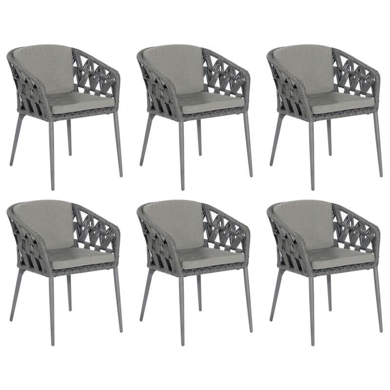Sonnenpartner 6er-Set Gartensessel Fairmont Aluminium mit Polyrope schwarzgrau Gartenstuhl Sessel