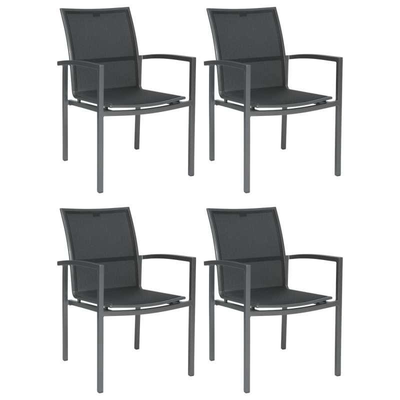 Stern 4er-Set Stapelsessel Skelby Aluminium graphit/Textilen silbergrau Gartenstuhl Stapelstuhl