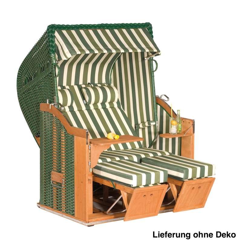 Sonnenpartner Strandkorb Classic 2Sitzer Halbliegemodell inkl. Ausstattung grün