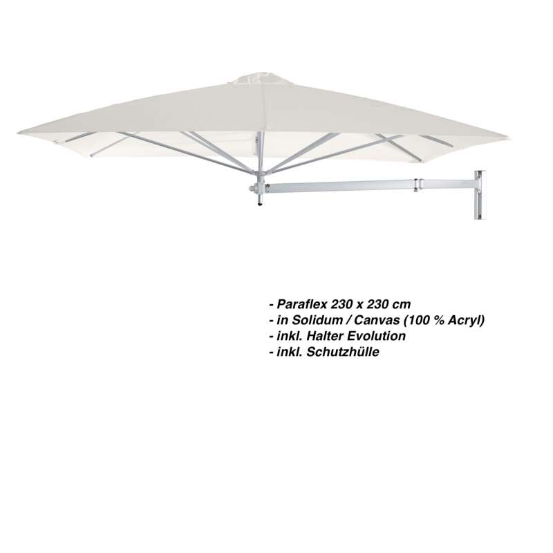 Umbrosa Paraflex 230 x 230 cm Sonnenschirm Solidum Canvas SET Wandschirm inkl. Halterung