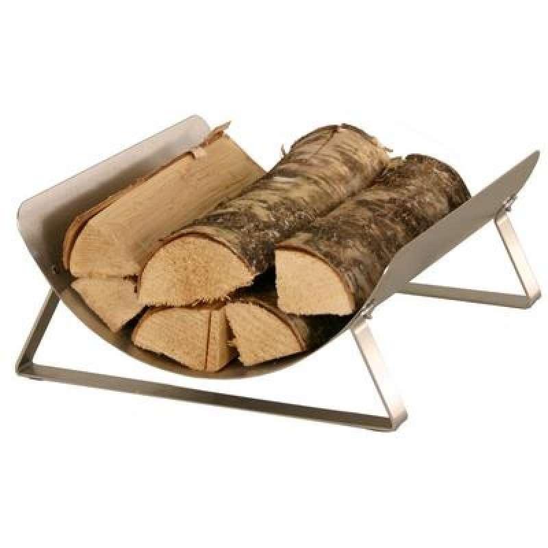 Heibi Holzkorb aus geschliffenem Edelstahl 38x41x16,5 cm silber