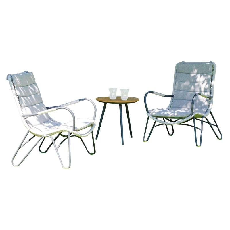 Sonnenpartner 3-teilige Sitzgruppe Charité & Gala 2 Sessel mit Tisch Ø 50 cm Aluminium mit Polyrope
