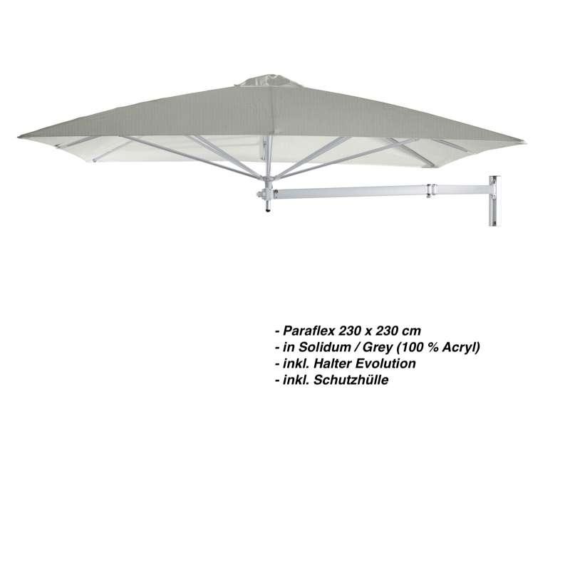 Umbrosa Paraflex 230 x 230 cm Sonnenschirm Solidum Grey SET Wandschirm inkl. Halterung