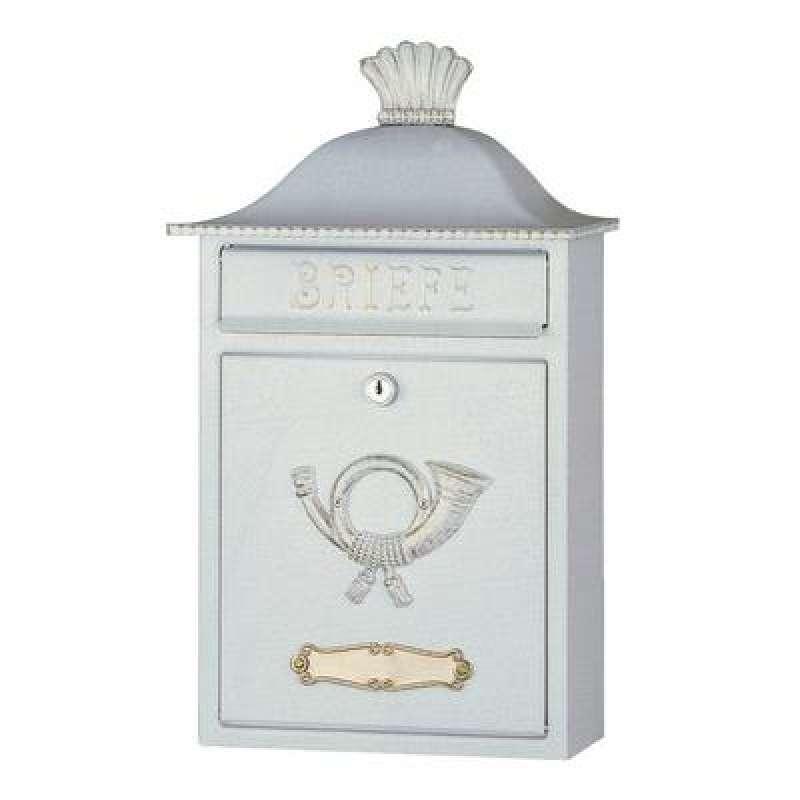 Heibi Briefkasten MERENO 64063-008 verzinkt weiß gold patiniert