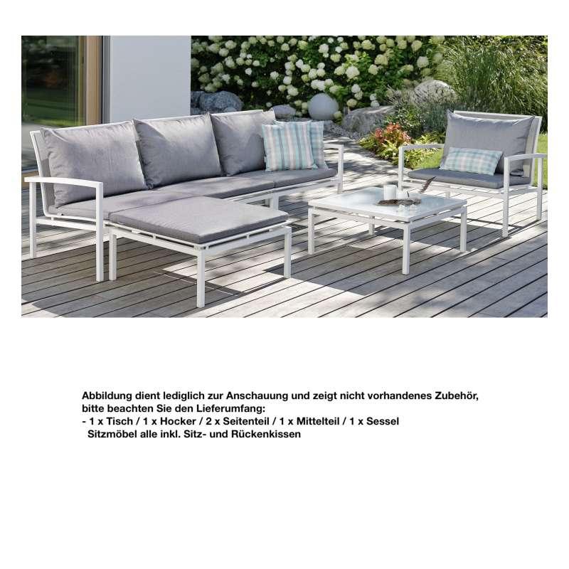 Stern 6-teilige Loungegruppe Skelby Aluminium weiß silber Sitzgruppe Loungeset