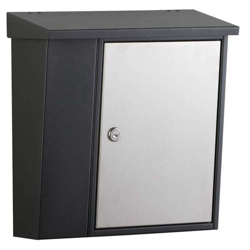 Heibi Briefkasten mit Zeitungsfach Stahlblech graphitgrau/Edelstahl 40x14x40 cm DIN C4 hoch