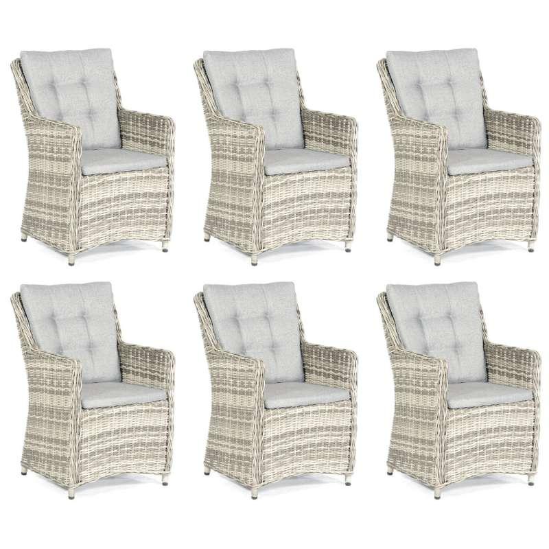 SunnySmart 6er-Set Garten-Sessel Hamilton Aluminium mit Kunststoffgeflecht vintage-taupe Gartenstuhl
