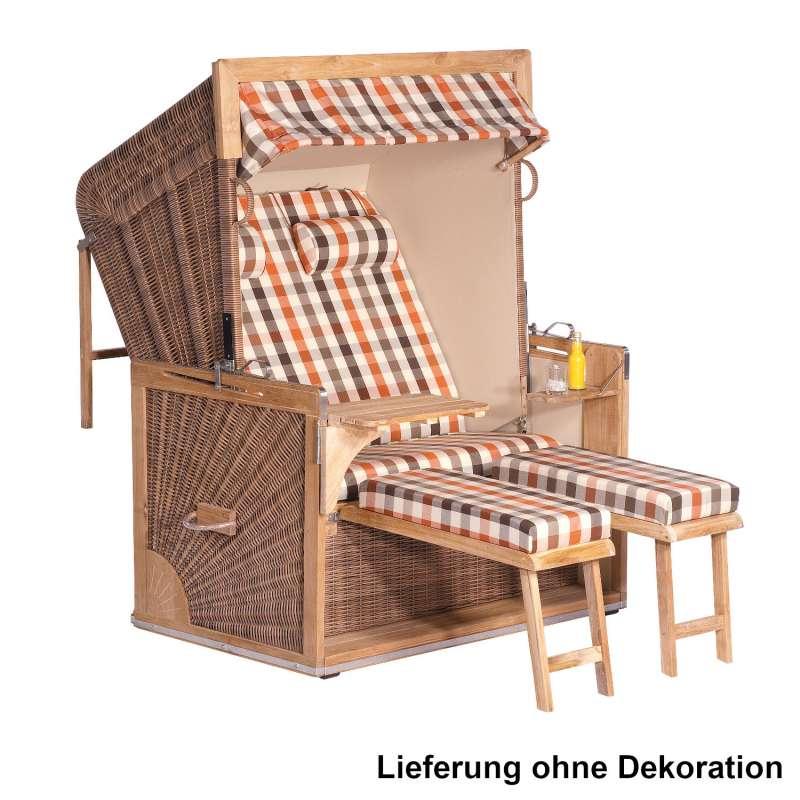 Sonnenpartner Strandkorb Admiral 2-Sitzer XL 3/4-Liegemodell antik-braun/sand mit 2 Nackenrollen