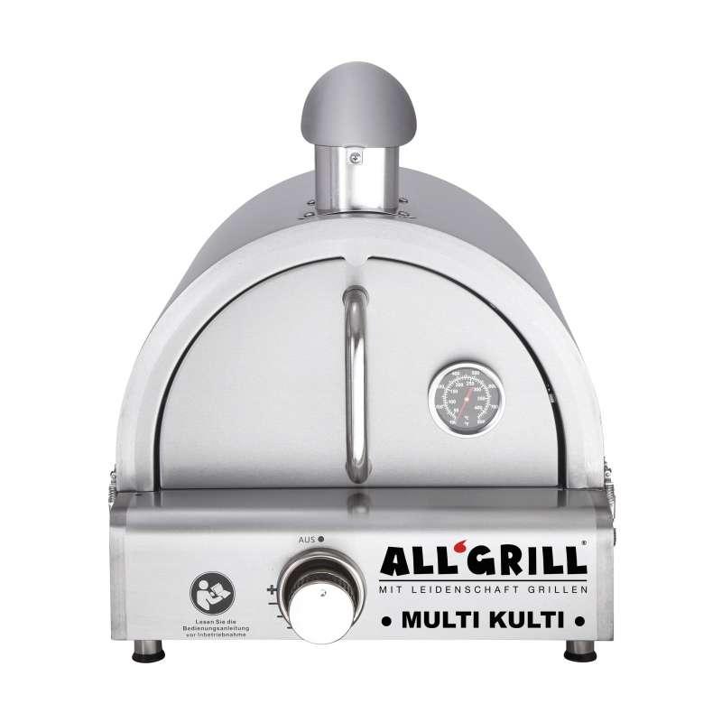 Allgrill MULTI-KULTI Set 2 - Gasgrill + Edelstahlpizzahaube mit Kamin