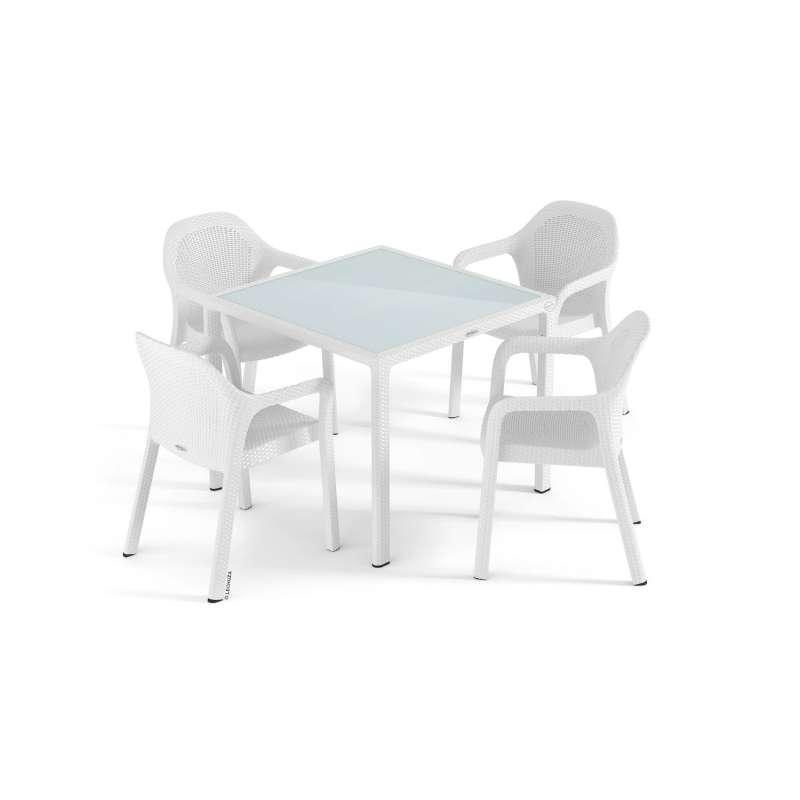 Lechuza 5-teilige Sitzgruppe Flechtstruktur weiß Gartentisch Glasplatte 90x90 cm 4 Stapelstühle
