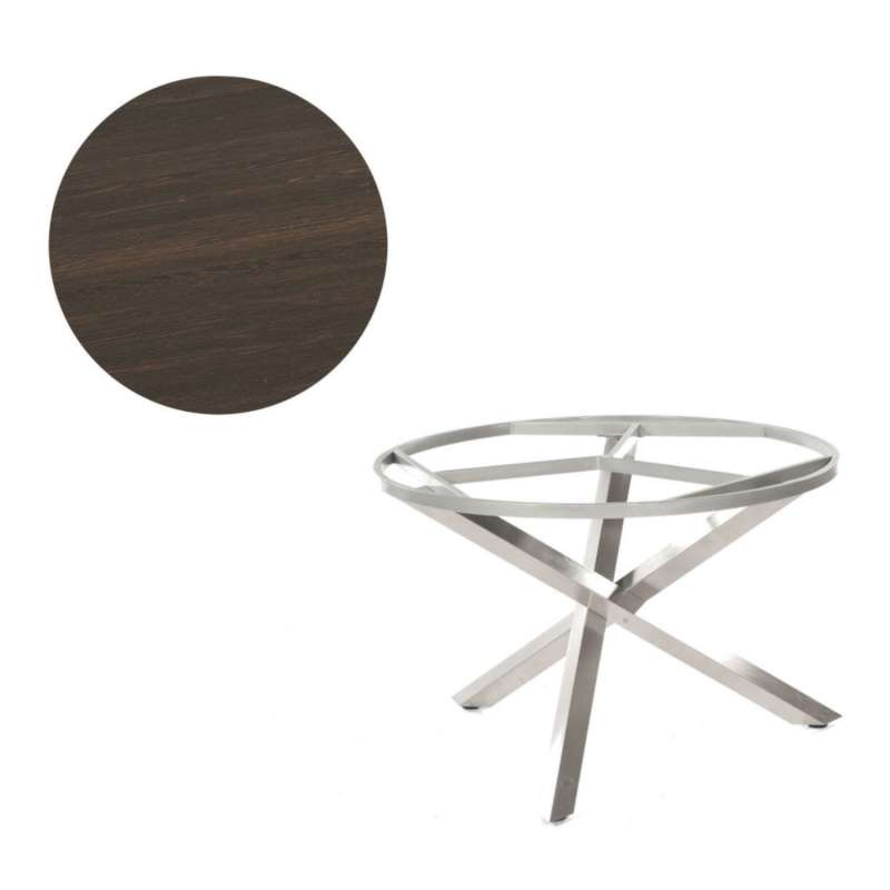 Sonnenpartner Gartentisch Base-Spectra rund Ø 100 cm Edelstahl Tischsystem mit wählbarer Tischplatte