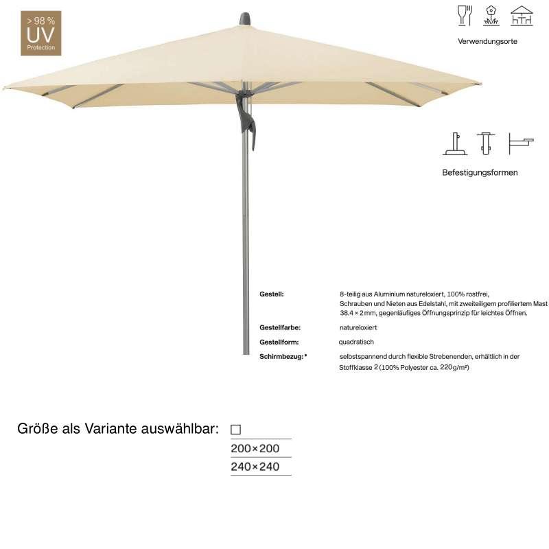 GLATZ Sonnenschirm FORTINO® easy quadratisch 200 x 200 / 240 x 240 cm Stoffklasse 2 Eggshell 150