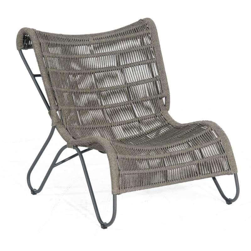 Sonnenpartner Gartensessel Ritz Aluminium mit Polyrope grau Relaxsessel Sessel