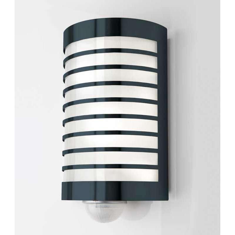 Heibi Wandleuchte TERU mit Bewegungsmelder Edelstahl grau/Glas 17x9x29 cm E27 Außenleuchte