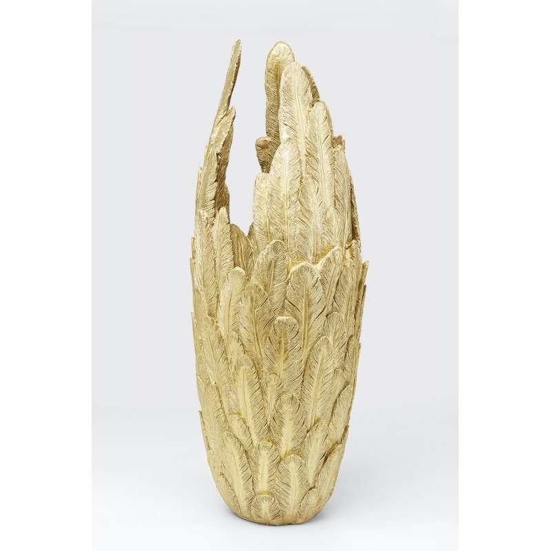 KARE Design Vase Feathers Gold 91 cm Dekovase im Federkleid aus Polyresin 51560